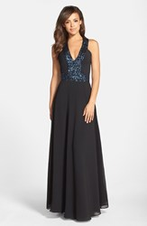 Women's Dress The Population 'Delani' Sequin Crepe Gown Black Peacock