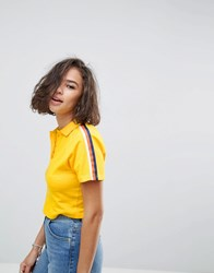 Asos Polo Top With Bright Contrast Stripe Yellow