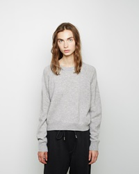 Alexander Wang Cashmere Blend Cropped Sweater Heather Grey