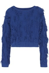 Milly Fringed Cotton Blend Sweater Blue