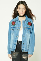 Forever 21 Graphic Patch Denim Jacket Medium Denim