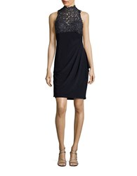 Xscape Evenings Sleeveless Lace Accented Sheath Dress Navy Gold