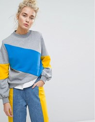 Tommy Jeans Colour Block Sweatshirt Grey Blue Yellow