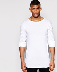 Asos Longline Jumper With Scoop Neck White