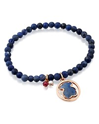 Tous Camille Sodalite Beaded Stretch Bracelet With Dumortierite Bear Doublet Ruby And Cultured Freshwater Pearl Charms Black And Rose