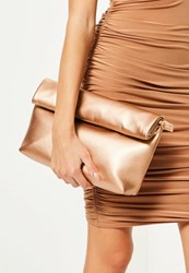 Missguided Rose Gold Roll Top Clutch Bag