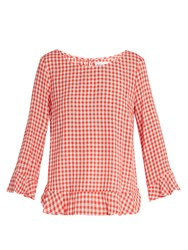 Velvet By Graham And Spencer Lavada Ruffle Trimmed Gingham Top Red White