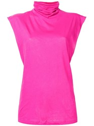 Unravel Project Turtle Neck Tank Top Pink