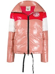 Semicouture Colour Block Puffer Jacket Pink