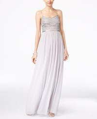 Adrianna Papell Beaded Chiffon Gown Silver