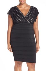Plus Size Women's Sangria Sequin Lace And Shutter Pleat Jersey Cocktail Dress