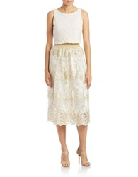 Badgley Mischka Lace Tank Top And Embellished Skirt Ivory Gold