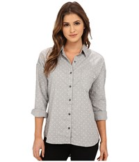 Obey Parker Lake Button Down Heather Grey Multi Women's Long Sleeve Button Up Gray