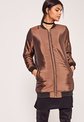 Missguided High Shine Longline Padded Bomber Jacket Bronze