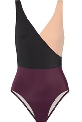 Solid And Striped The Ballerina Color Block Swimsuit Burgundy