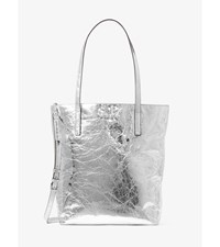 Emry Large Crinkled Leather Tote Silver