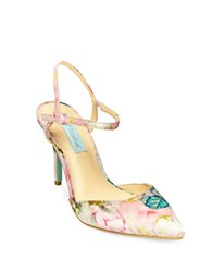 Betsey Johnson Anina Embossed Dress Pumps Pink Multi