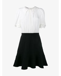 Miu Miu Wool And Silk Dress With Blouse Collar Black White Leopard