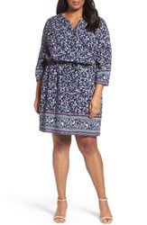Caslonr Plus Size Women's Caslon Print Blouson Dress Navy Coral Floral