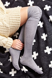 Urban Outfitters Ribbed Cuff Over The Knee Sock Dark Grey