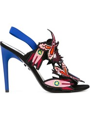 Msgm Embroidered Slingback Sandals