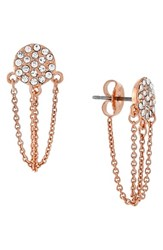 Women's Vince Camuto Pave Disc Stud Ear Chains Rose Gold
