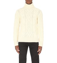 Tom Ford Turtleneck Cable Knit Jumper Ivory