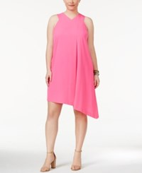 Rachel Roy Trendy Plus Size Pocketed Asymmetrical Dress Neon Pink