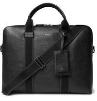 Hugo Boss Timeless Cross Grain Leather Briefcase Black