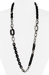 John Hardy Women's Dot Long Link Necklace Silver Ebony Wood