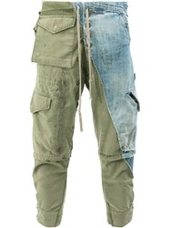 Greg Lauren Denim Cargo Trousers Green