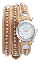La Mer Women's Collections Bali Stud Leather Wrap Strap Watch 25.4Mm