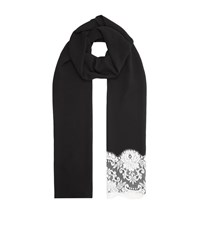 Dolce And Gabbana Lace Trim Crepe Scarf Female Black