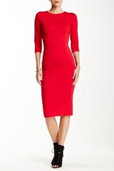Blvd Long Sleeve Bodycon Dress Red