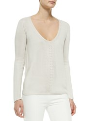 The Row Pointelle V Neck Sweater Dusty Pink