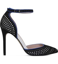 Carvela Alfie Perforated Suede Court Shoes Blk Other