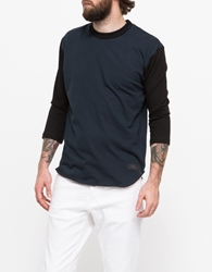 Patrik Ervell Baseball T Shirt Navy Cotton