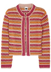 M Missoni Metallic Open Knit Cardigan Pink