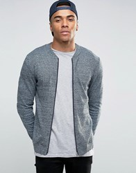 Asos Knitted Cotton Bomber Jacket In Muscle Fit Denim Twist Blue