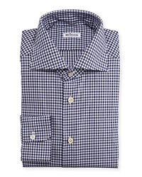 Kiton Unbalanced Gingham Woven Dress Shirt Navy Men's Size 15