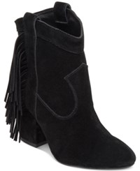 Jessica Simpson Wyoming Western Fringe Booties Women's Shoes Black