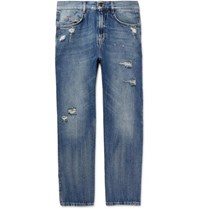 Mcq By Alexander Mcqueen Skinny Fit Distressed Denim Jeans Indigo