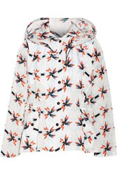 Tanya Taylor Lee Printed Cotton Blend Shell Hooded Jacket Orange