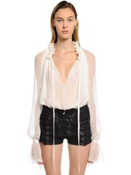 Redemption Sheer Silk Crepon Blouse White