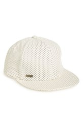 Steve Madden Women's Perforated Faux Leather Baseball Cap White Ivory