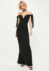 Missguided Black Sweetheart Neck Bardot Tie Maxi Dress