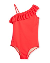 Milly Minis Ruffle Trim Italian Solid One Piece Swimsuit Watermelon