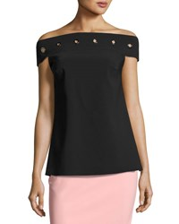 La Petite Robe Di Chiara Boni Carey Off The Shoulder Grommet Top Black