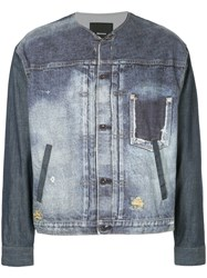 08Sircus Distressed Denim Jacket Blue