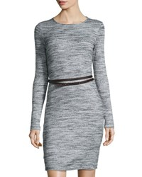 Three Dots Jennifer Long Sleeve Belted Sweaterdress Granite